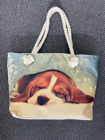 Beagle print canvas tote bag