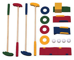 mini golf set of 4 clubs and extras