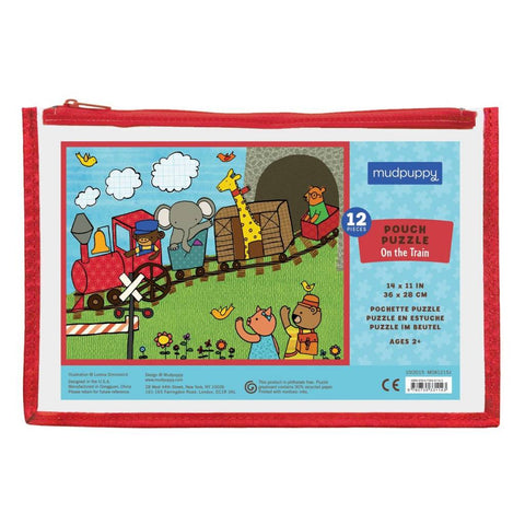 On the train Pouch Puzzle - Mudpuppy 12 piece puzzle