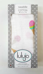 kidz-stuff-online - Lulujo Muslin Swaddle Blanket - Ice Cream