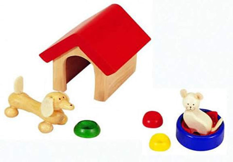 Wooden Pet Set for dollshouse - Pintoy