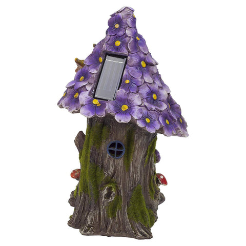 Solar-Powered Light-Up Fairy Garden Tree House Purple