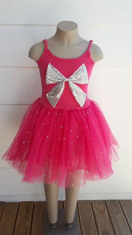 Pink Poppy- Silver Bow Dress