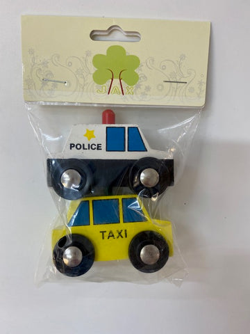 Wooden taxi and Police car