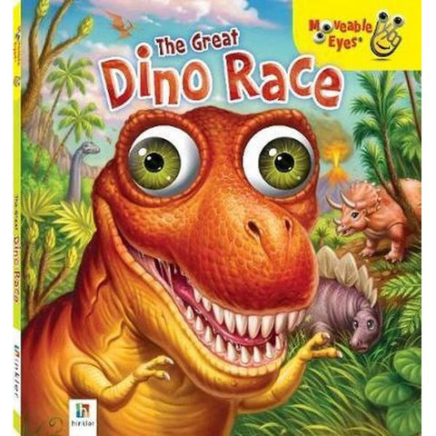 The Great Dino Race book with movable eyes