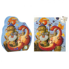 Vaillant & The Dragon 54-Piece Silhouette Puzzle - Djeco