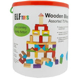 75 Piece Assorted Wooden Blocks Elf Toys