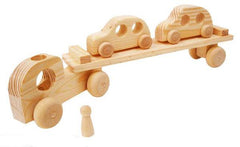 Natural wooden car transporter with cars