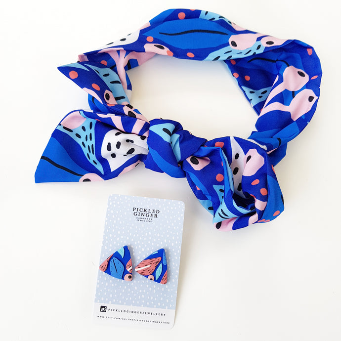 Royal blue patterns headscarf