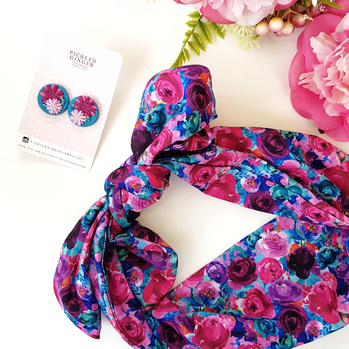 Pink floral on aqua headscarf