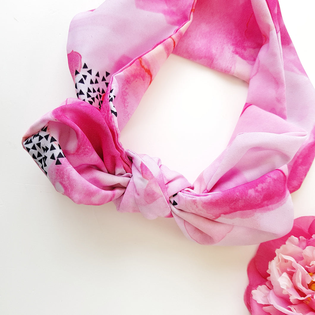 Hot pink watercolour headscarf