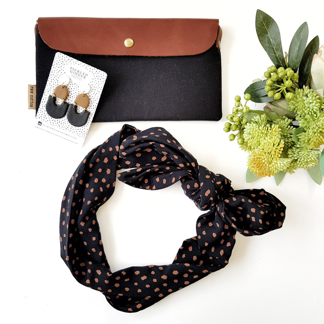 Black and brown polka headscarf