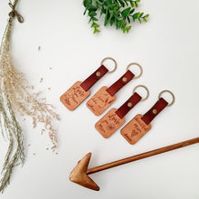 Personalised Hard wood and leather key tag
