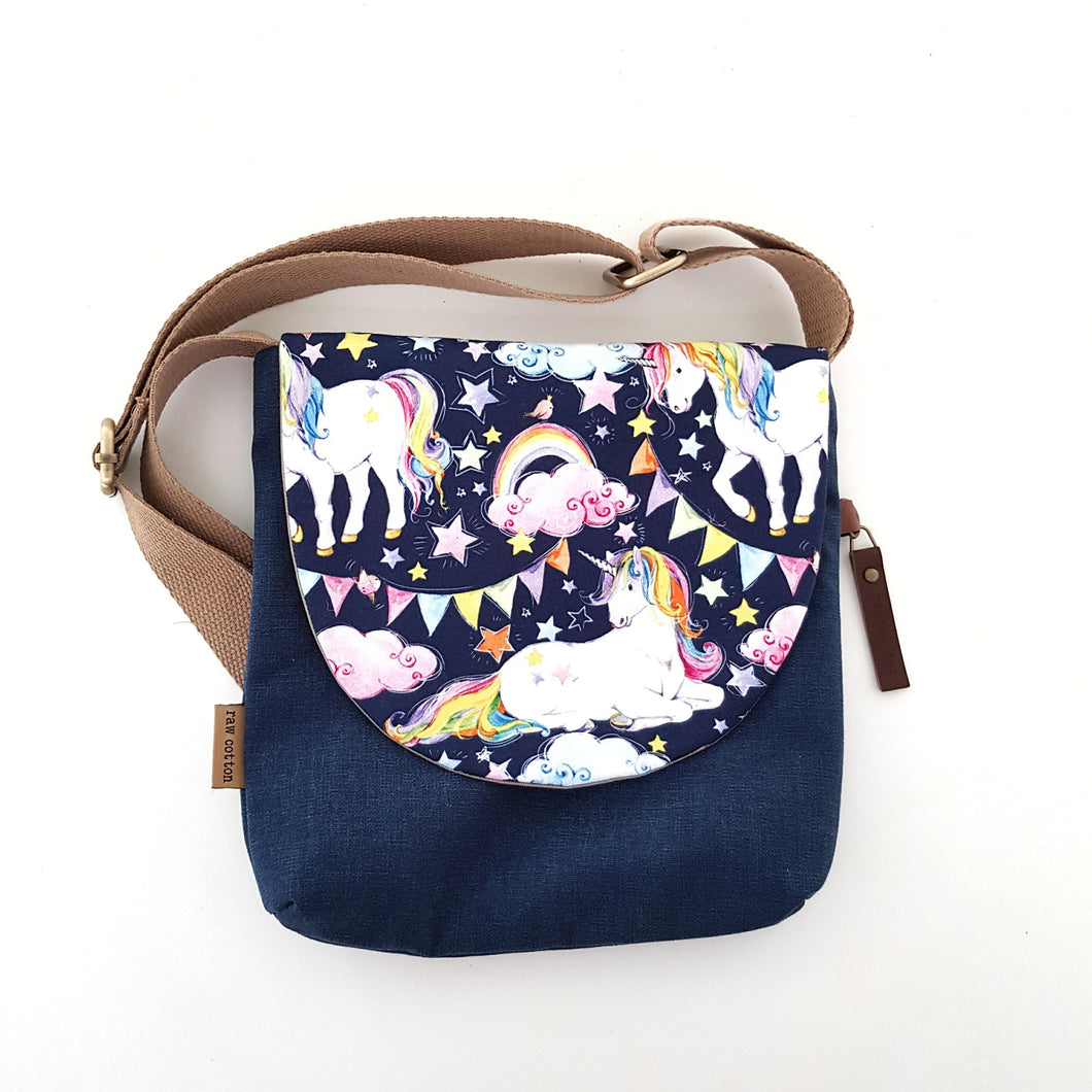 Navy Unicorn kids bag LARGE