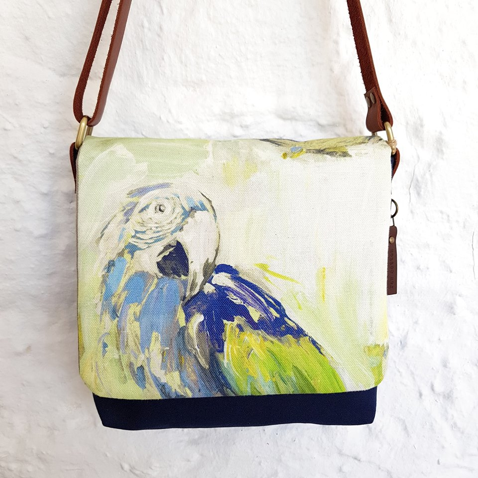 CROSS BODY Blue and Green Birds