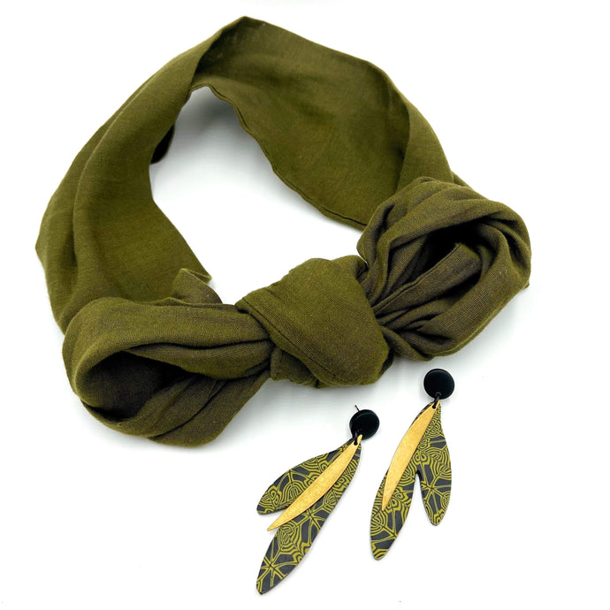 Army green headscarf