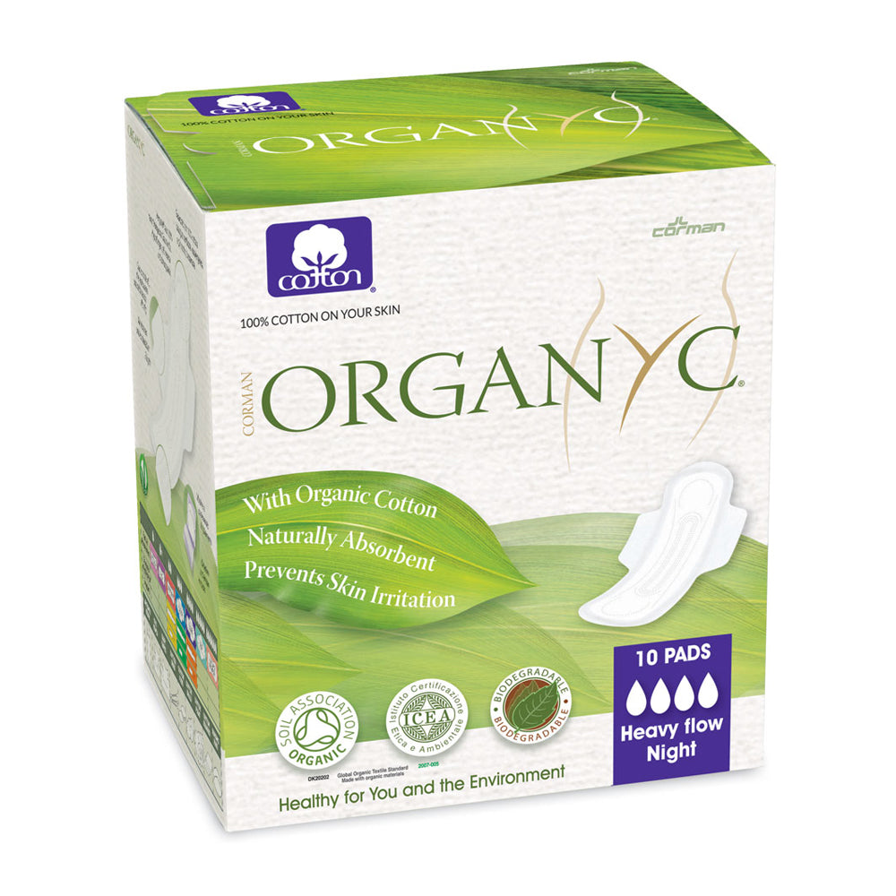 Organyc 100% Organic Cotton Sanitary Pads Heavy Flow 10 Pads