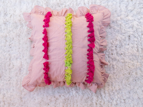 Pink Ruffled Cushion Cover