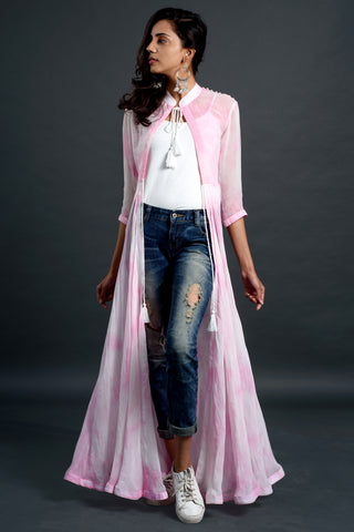 Pink Shibori Flared Jacket