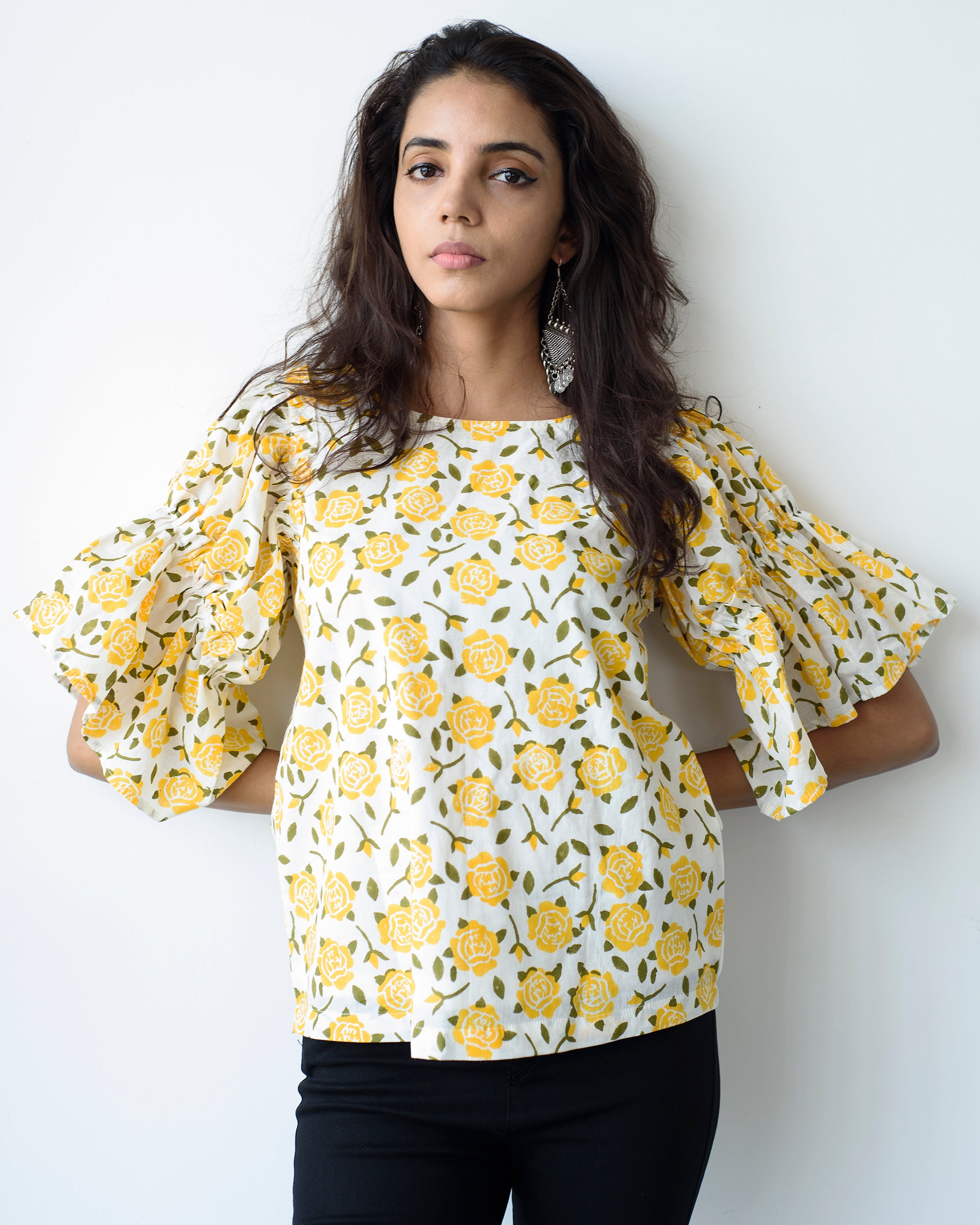 Gulabari Yellow Frill Sleeves Top