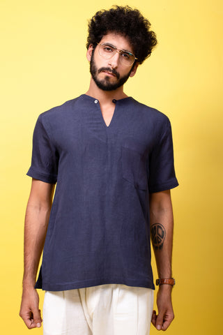 Blue Linen Short Kurta