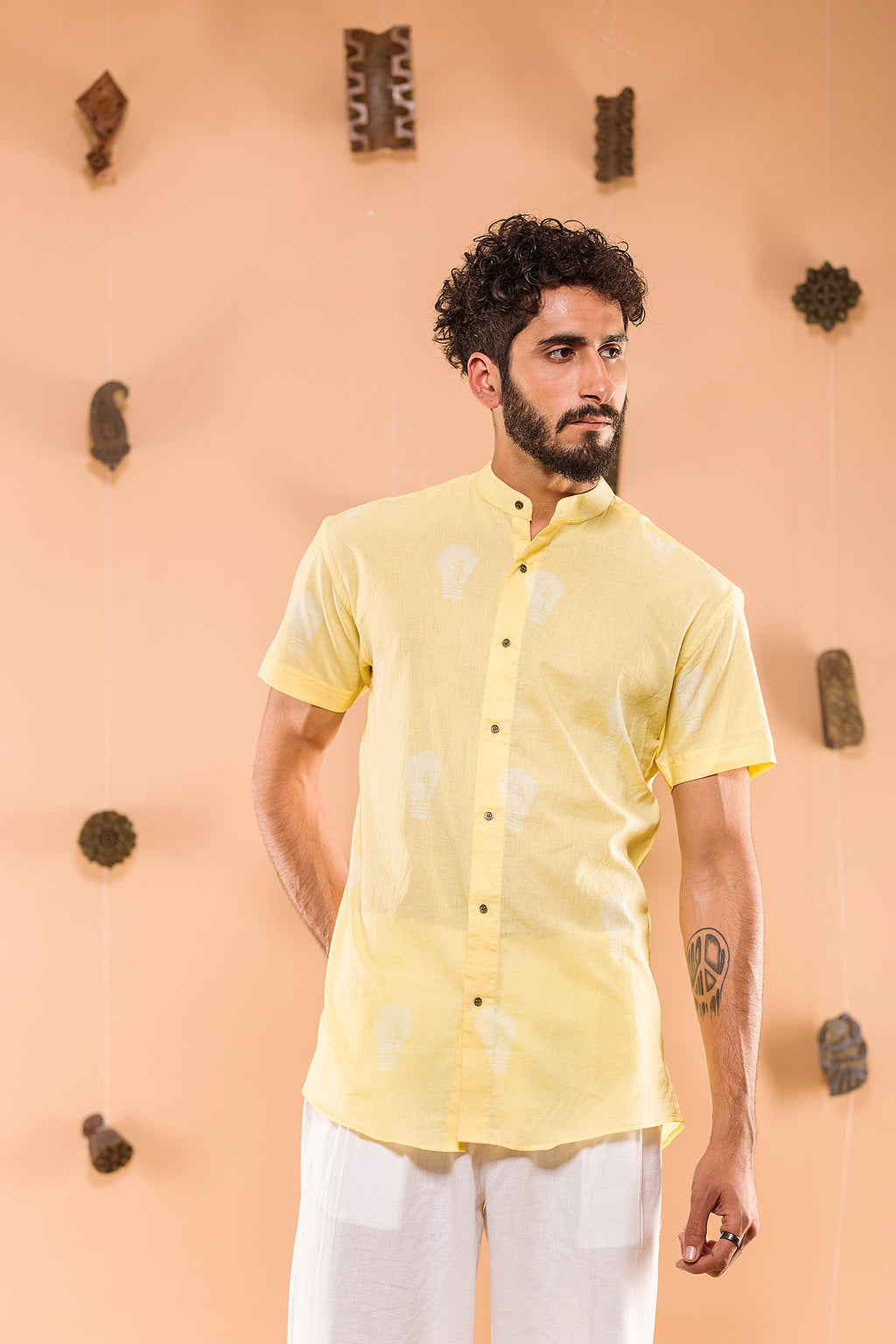 Dimag ki Batti Jali Yellow Shirt