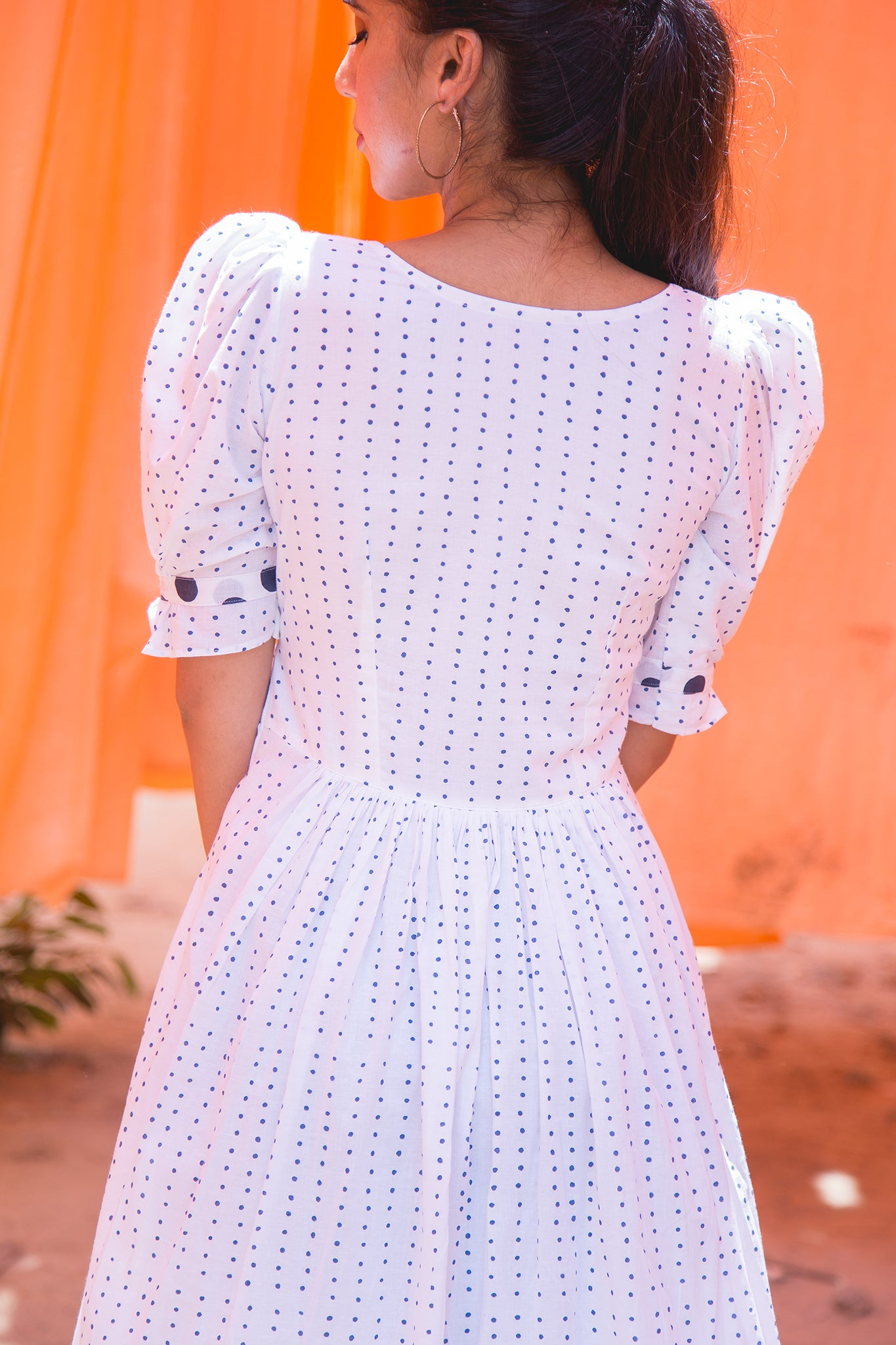 Polka Midi Dress cotton