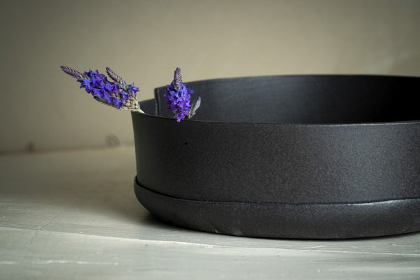Black ceramic bowl, Serving Pottery bowl, Gift for Newlyweds - ShellyClayspot