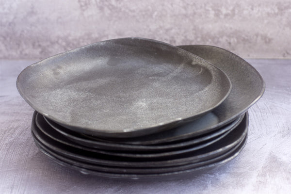 Set of Four Square Wabi Sabi Black Ceramic Dinner Plates -Shellyclayspot