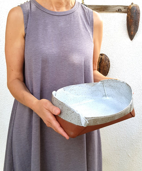Unique Speckled Clay Baking Dish - ShellyClayspot
