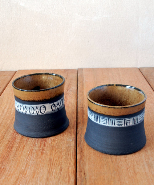 Pottery Espresso Cups Set of 2 - ShellyClayspot