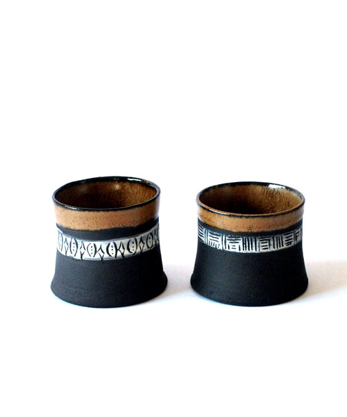 Set of 2 Espresso Cups, Black Cups Tribal Design - ShellyClayspot