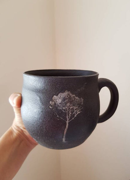 Black Ceramic Tree Mug - ShellyClayspot