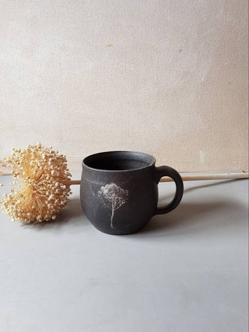 Black Ceramic Pottery Mug - ShellyClayspot