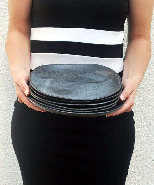 Ceramic Plate, Black Dinner Plate - ShellyClayspot