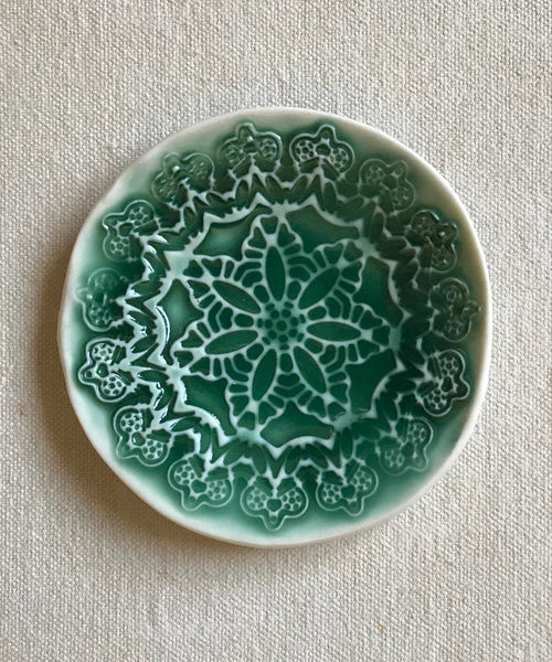 Green Textured Ceramic Jewelry Holder Mandala - ShellyClayspot