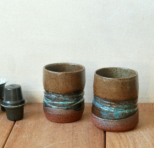 Tea Cups Set of 4 Textured Wheel Thrown Cups - ShellyClayspot