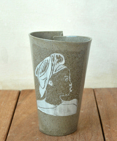 White Portrait Pottery Mug - ShellyClayspot