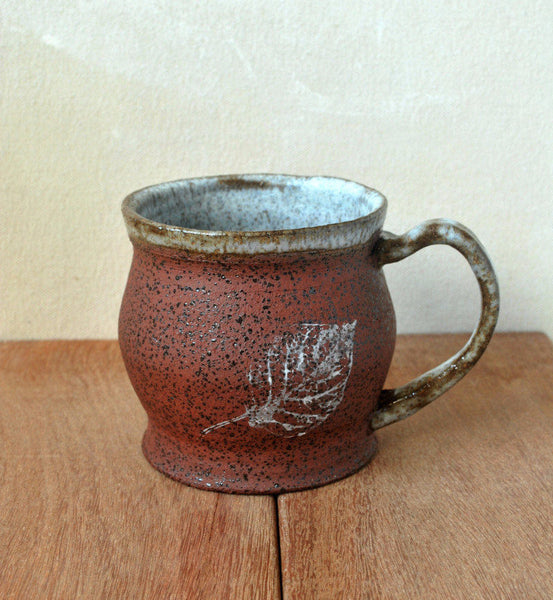 Unique Ceramic Coffee Mug Autumn Leaf  Cup - ShellyClayspot