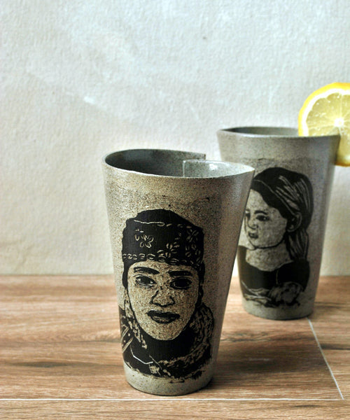 Gray Ceramic Coffee Mug Portraits Mug - ShellyClayspot
