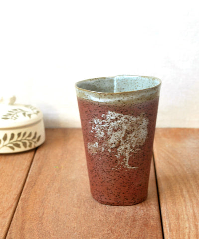 Ceramic Coffee Cup Speckled Terracotta Folded Cup - ShellyClayspot