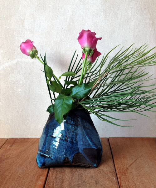 Blue Textured Flower Vase Small Pottery Vase - ShellyClayspot