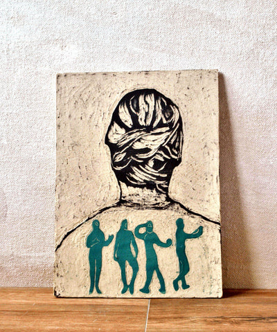 Hand Carved Ceramic Tile Portrait Decorative Tile - ShellyClayspot