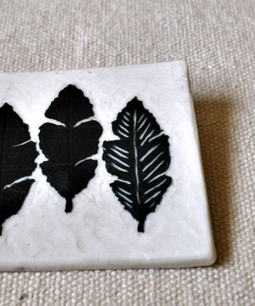 Porcelain Brooch Carved Feathers Pin - ShellyClayspot