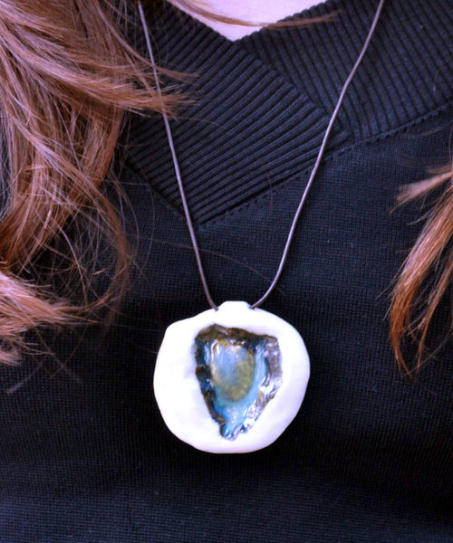 Heart Pendant Porcelain Jewelry Turquoise Jewelry - ShellyClayspot