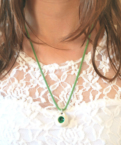 Porcelain Necklace Green Glass Focal - ShellyClayspot