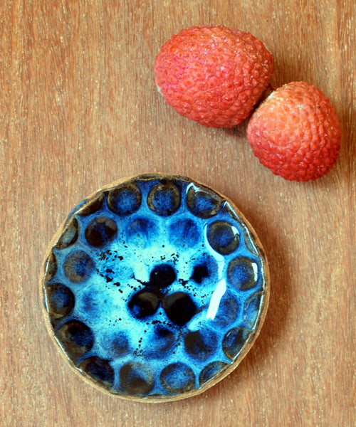 Blue Ring Dish Textured Ceramic Ring Dish - ShellyClayspot