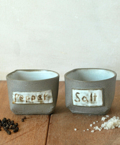 Ceramic Salt & Pepper Cellars Condiment Holder - ShellyClayspot