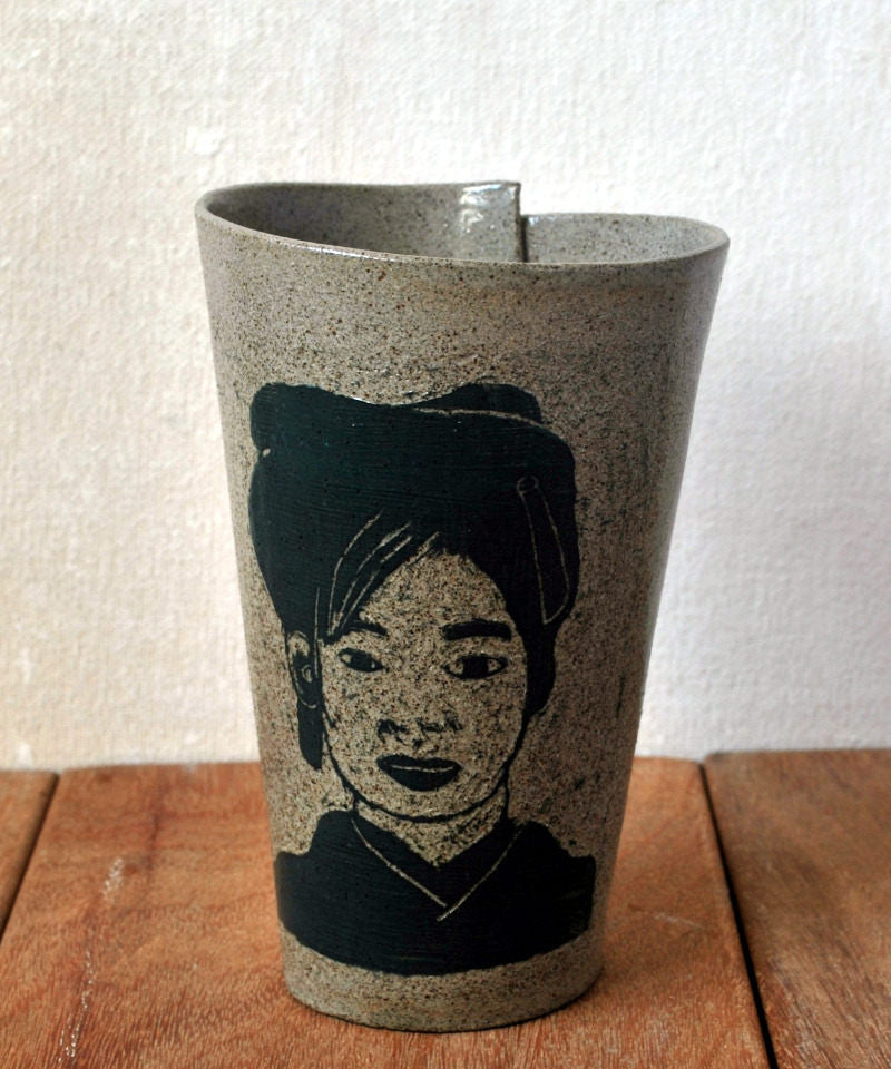 Gray Ceramic Coffee Mug Japanese Girl Portrait Tumbler - ShellyClayspot