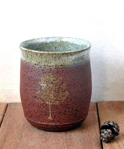 Earthy Tones Ceramic Tumbler Speckled Terracotta Cup - ShellyClayspot